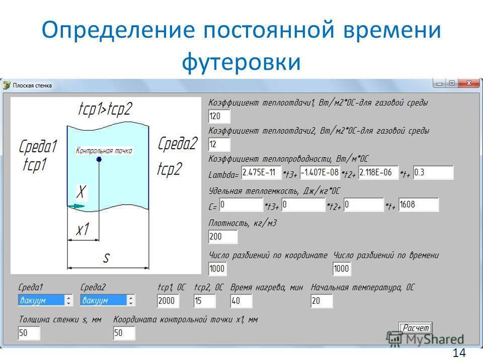 Определение постоянной времени футеровки 14