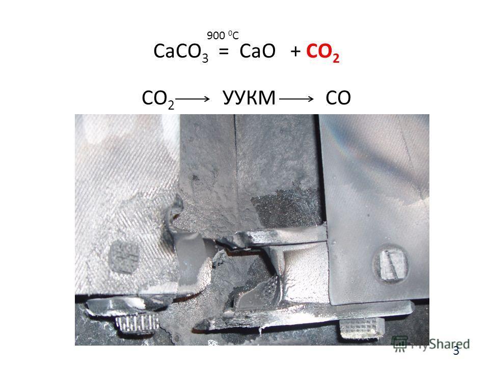 CaCO 3 = CaO + CO 2 CO 2 УУКМ CO 900 0 С 3