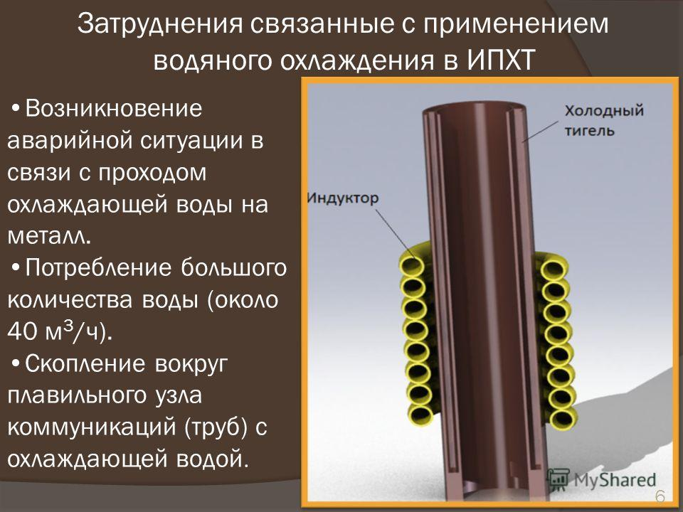 Возникновение аварийной ситуации в связи с проходом охлаждающей воды на металл. Потребление большого количества воды (около 40 м 3 /ч). Скопление вокруг плавильного узла коммуникаций (труб) с охлаждающей водой. 6 Затруднения связанные с применением в