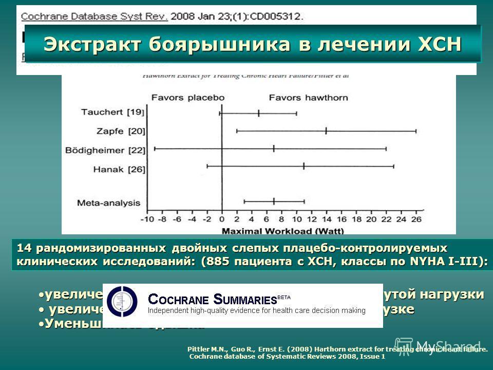 Pittler M.N., Guo R., Ernst E. (2008) Harthorn extract for treating chronic heart failure. Cochrane database of Systematic Reviews 2008, Issue 1 14 рандомизированных двойных слепых плацебо-контролируемых клинических исследований: (885 пациента с ХСН,