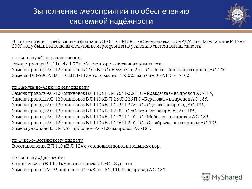 6 Выполнение мероприятий по обеспечению системной надёжности В соответствии с требованиями филиалов ОАО «СО-ЕЭС» - «Северокавказское РДУ» и «Дагестанское РДУ» в 2009 году были выполнены следующие мероприятия по усилению системной надежности: по филиа