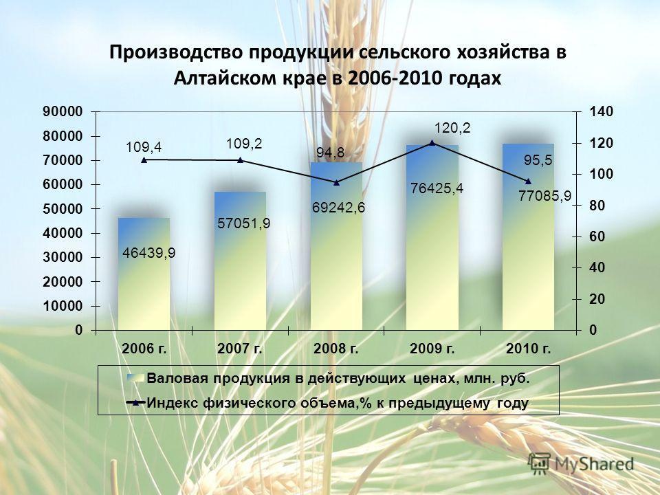 Производство продукции сельского хозяйства в Алтайском крае в 2006-2010 годах