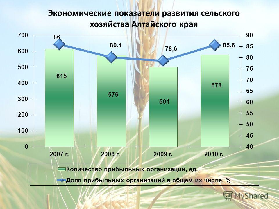 Экономические показатели развития сельского хозяйства Алтайского края