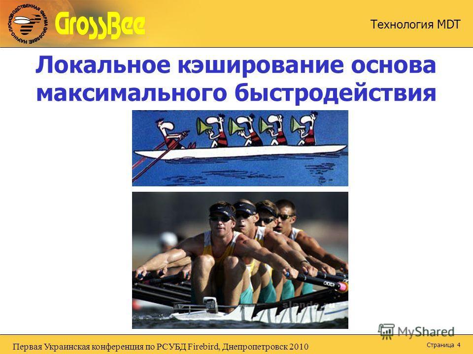 Первая Украинская конференция по РСУБД Firebird, Днепропетровск 2010 Технология MDT Страница 4 Локальное кэширование основа максимального быстродействия
