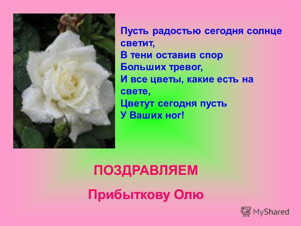 Пусть радостью сегодня солнце светит, В тени оставив спор Больших тревог, И все цветы, какие есть на свете, Цветут сегодня пусть У Ваших ног! ПОЗДРАВЛЯЕМ Прибыткову Олю