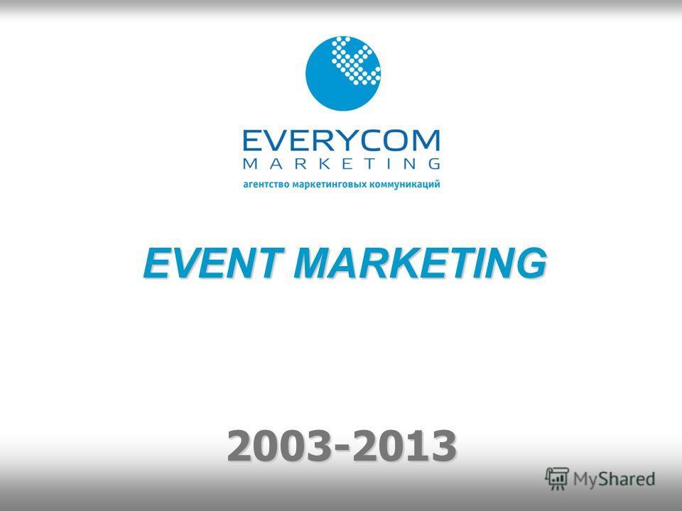 EVENT MARKETING 2003-2013