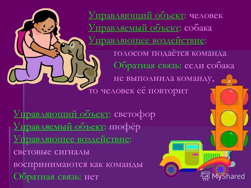 Управляющий объект: человек Управляемый объект: собака Управляющее воздействие: голосом подаётся команда Обратная связь: если собака не выполнила команду, то человек её повторит Управляющий объект: светофор Управляемый объект: шофёр Управляющее возде