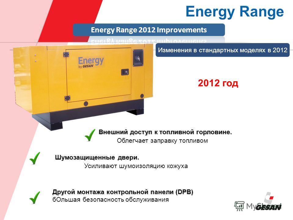 Внешний доступ к топливной горловине. Облегчает заправку топливом Шумозащищенные двери. Усиливают шумоизоляцию кожуха Другой монтажа контрольной панели (DPB) бОльшая безопасность обслуживания Изменения в стандартных моделях в 2012 2012 год
