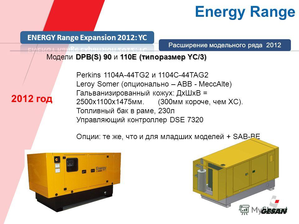 DPB(S) 90110E (типоразмер YC/3) Модели DPB(S) 90 и 110E (типоразмер YC/3) Perkins 1104A-44TG2 и 1104C-44TAG2 Leroy Somer (опционально – ABB - MeccAlte) Гальванизированный кожух: ДxШxВ = 2500x1100x1475мм. (300мм короче, чем XC). Топливный бак в раме,