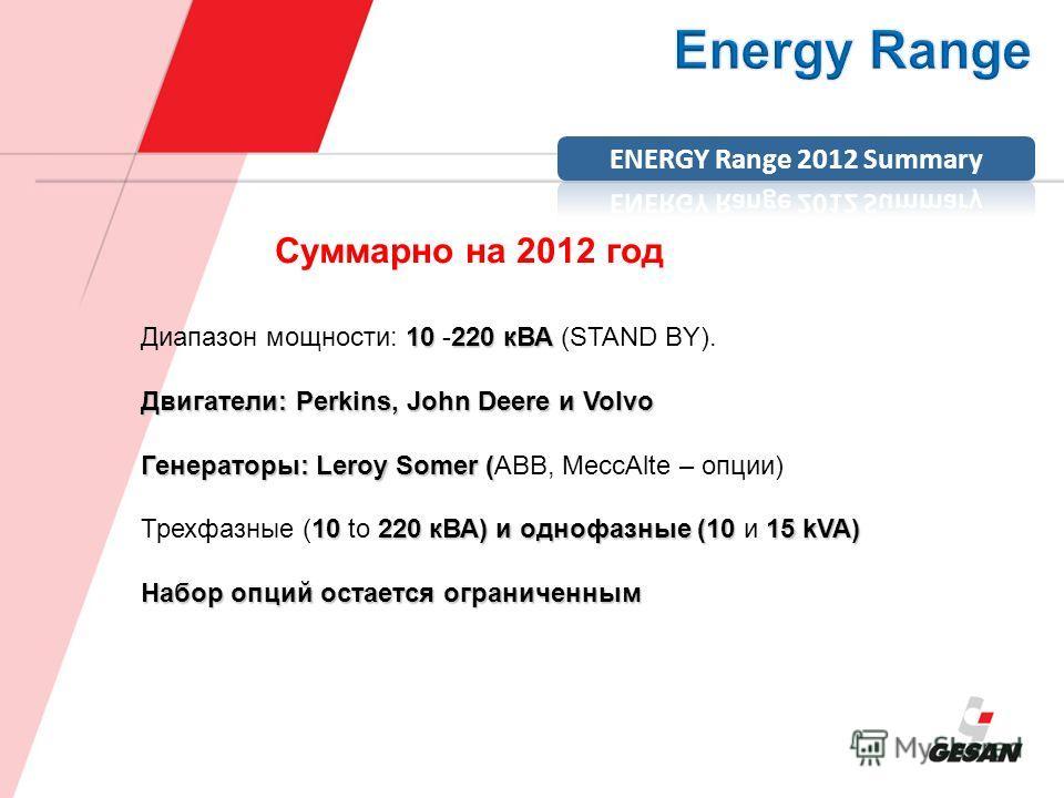 10220 кВА Диапазон мощности: 10 -220 кВА (STAND BY). Двигатели: Perkins, John Deere и Volvo Генераторы: Leroy Somer ( Генераторы: Leroy Somer (ABB, MeccAlte – опции) 10220 кВА) и однофазные (1015 kVA) Трехфазные (10 to 220 кВА) и однофазные (10 и 15