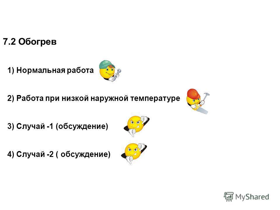7.2 Обогрев 1) Нормальная работа 2) Работа при низкой наружной температуре 3) Случай -1 (обсуждение) 4) Случай -2 ( обсуждение)
