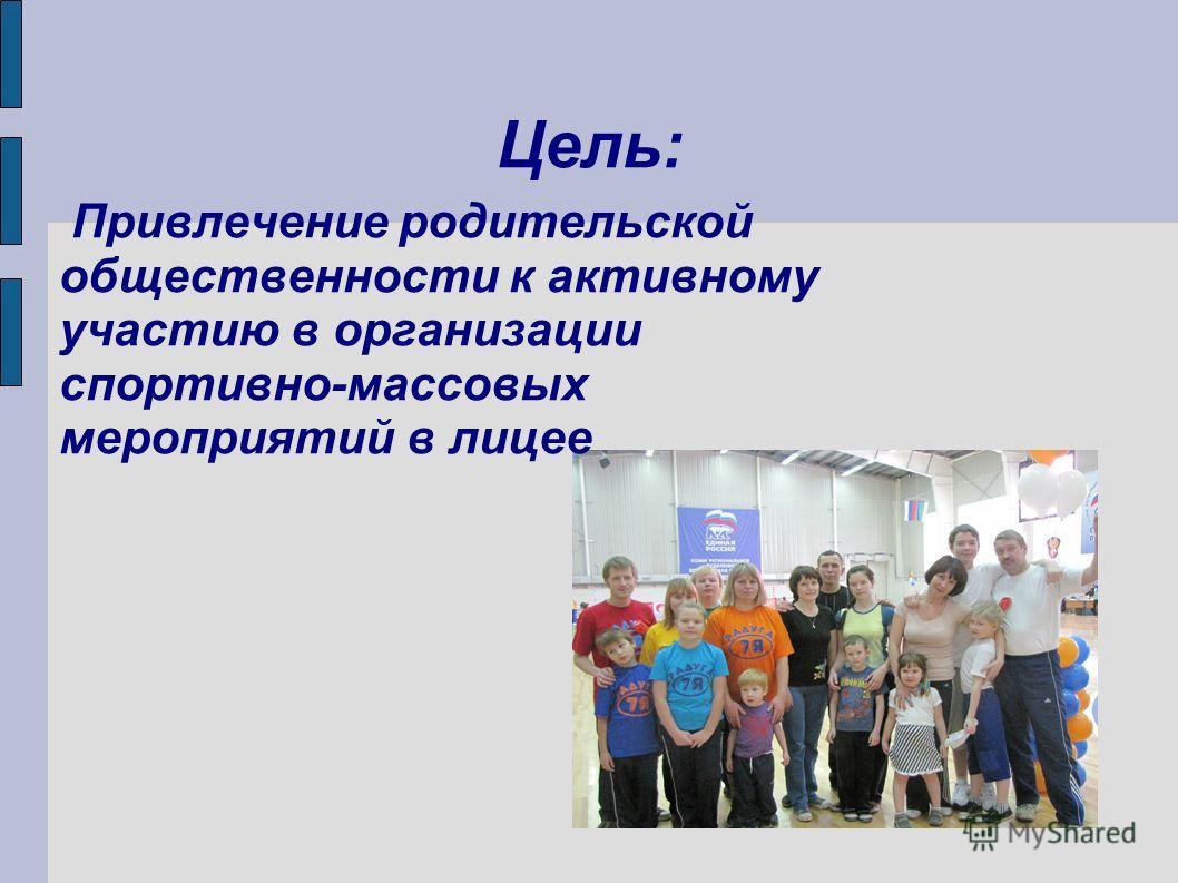 Цель: Привлечение родительской общественности к активному участию в организации спортивно-массовых мероприятий в лицее