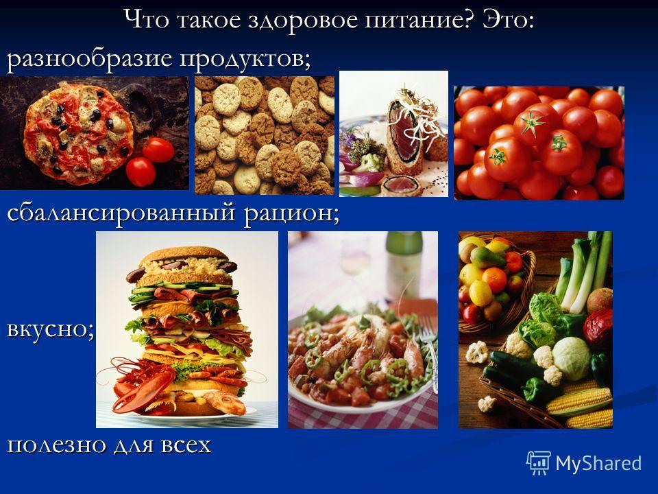 Что такое здоровое питание? Это: разнообразие продуктов; сбалансированный рацион; вкусно; полезно для всех