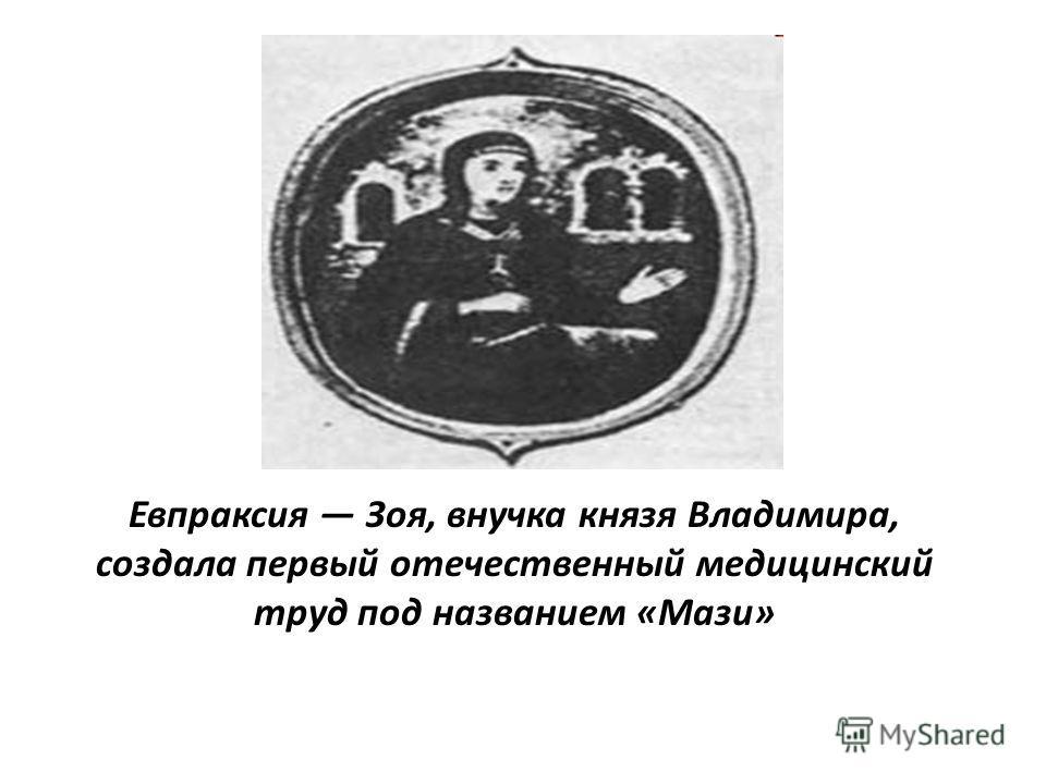 Евпраксия Зоя, внучка князя Владимира, создала первый отечественный медицинский труд под названием «Мази»
