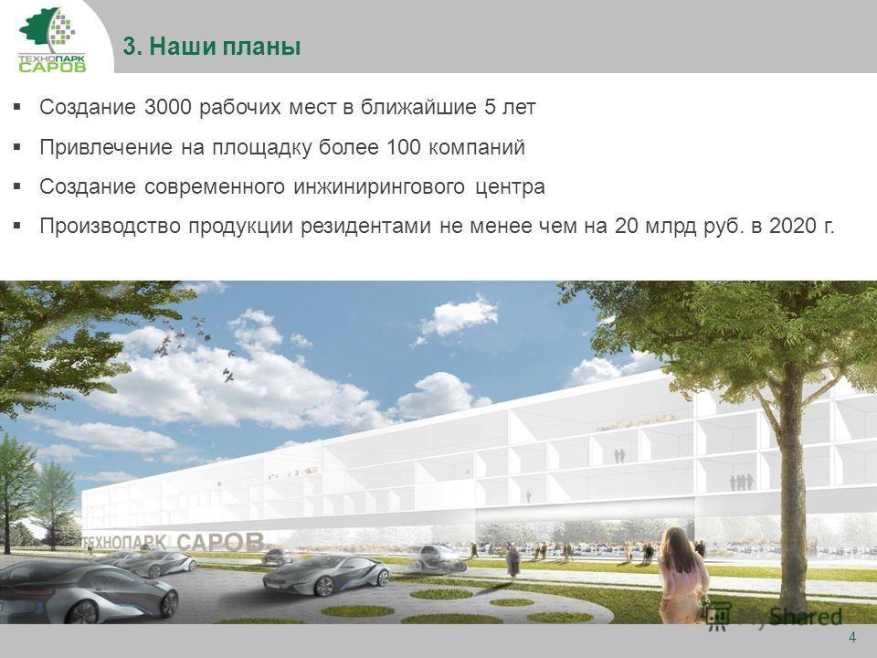 3. Наши планы 4 Создание 3000 рабочих мест в ближайшие 5 лет Привлечение на площадку более 100 компаний Создание современного инжинирингового центра Производство продукции резидентами не менее чем на 20 млрд руб. в 2020 г.