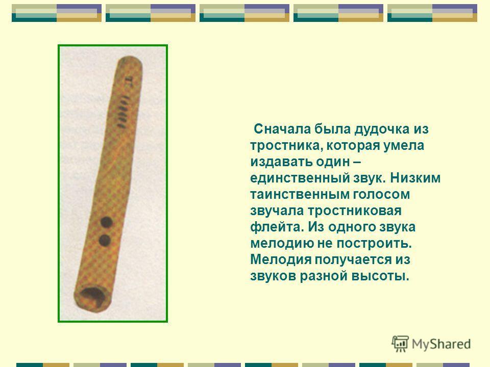 Сначала была дудочка из тростника, которая умела издавать один – единственный звук. Низким таинственным голосом звучала тростниковая флейта. Из одного звука мелодию не построить. Мелодия получается из звуков разной высоты.