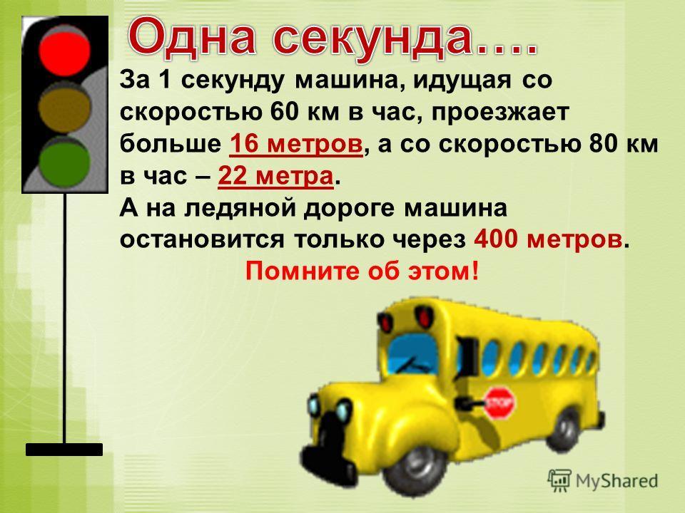 За 1 секунду машина, идущая со скоростью 60 км в час, проезжает больше 16 метров, а со скоростью 80 км в час – 22 метра. А на ледяной дороге машина остановится только через 400 метров. Помните об этом!