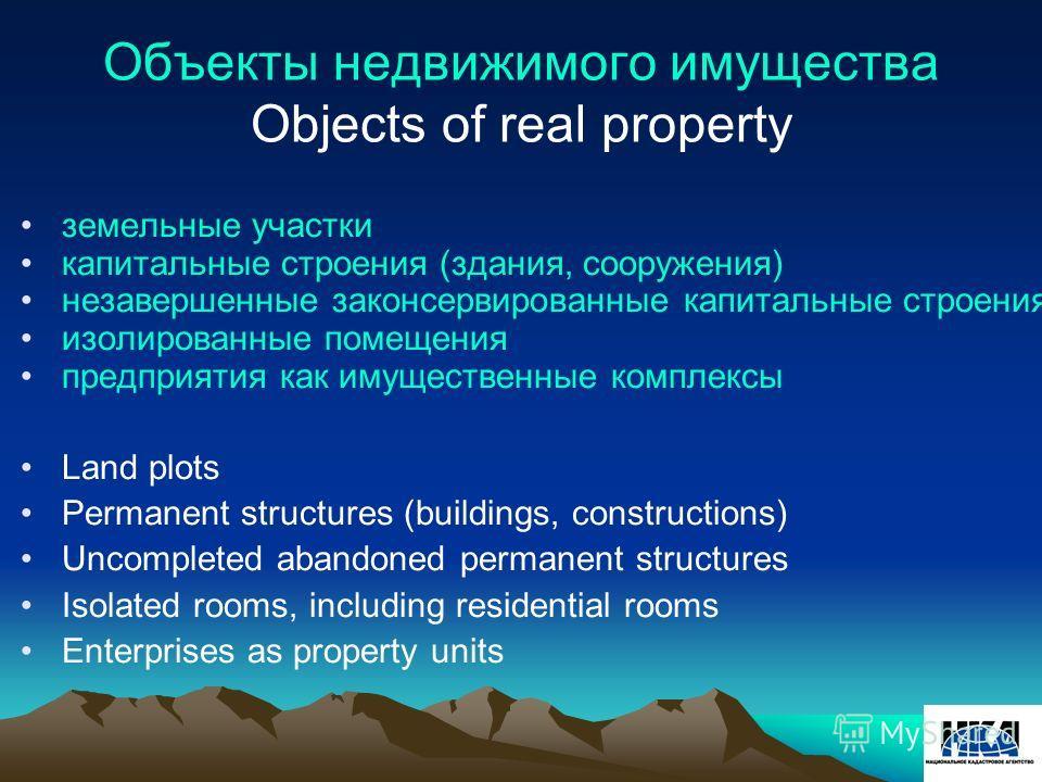 Объекты недвижимого имущества Objects of real property земельные участки капитальные строения (здания, сооружения) незавершенные законсервированные капитальные строения изолированные помещения предприятия как имущественные комплексы Land plots Perman