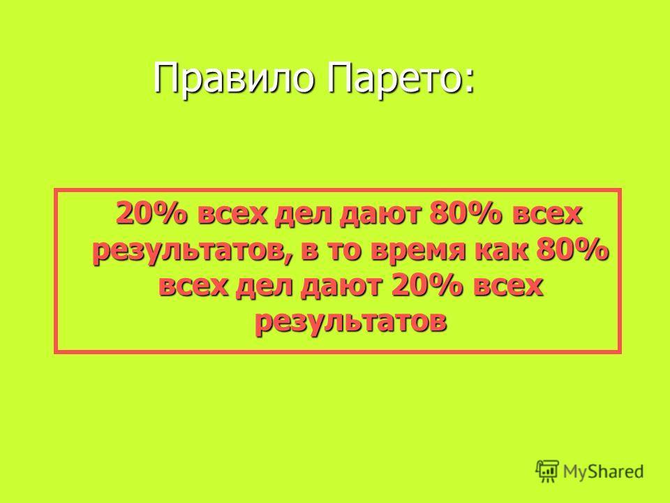 Правило Парето: 20% всех дел дают 80% всех результатов, в то время как 80% всех дел дают 20% всех результатов