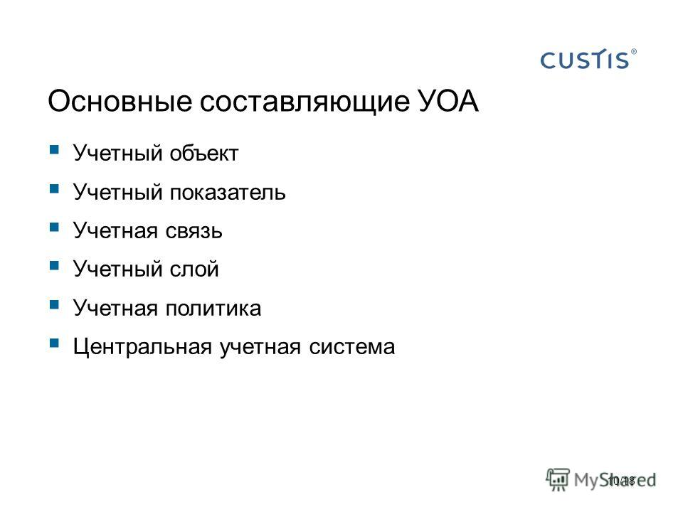 Основные составляющие УОА Учетный объект Учетный показатель Учетная связь Учетный слой Учетная политика Центральная учетная система 10/18