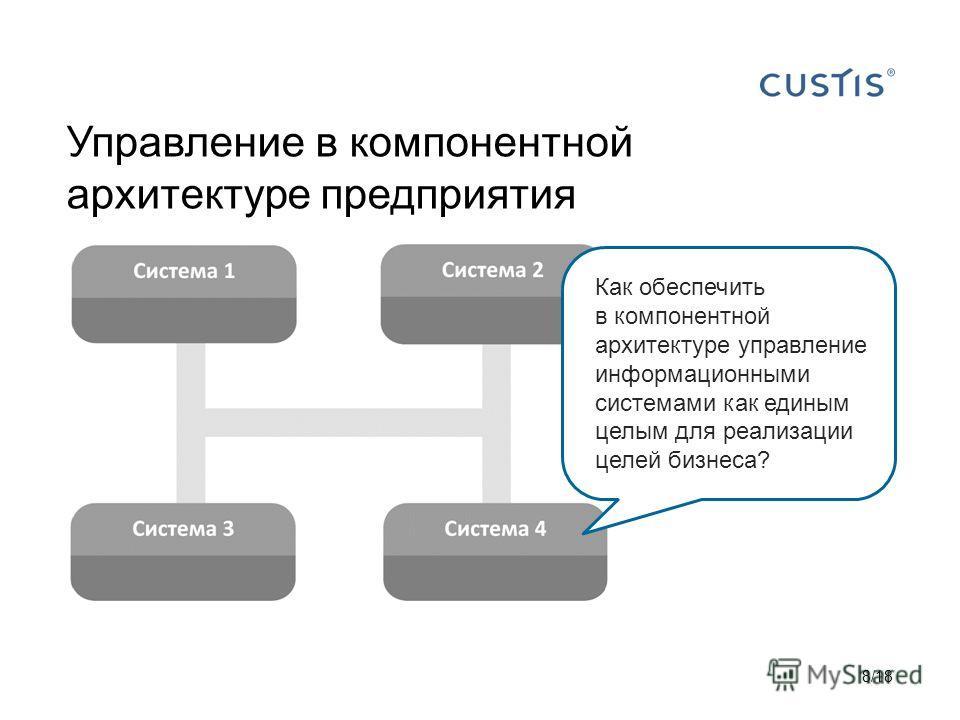 Управление в компонентной архитектуре предприятия 8/18 Как обеспечить в компонентной архитектуре управление информационными системами как единым целым для реализации целей бизнеса?
