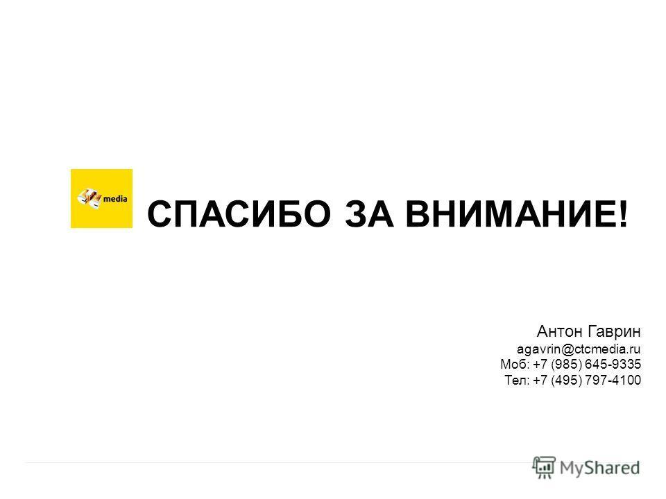| 12 СПАСИБО ЗА ВНИМАНИЕ! Антон Гаврин agavrin@ctcmedia.ru Моб: +7 (985) 645-9335 Тел: +7 (495) 797-4100