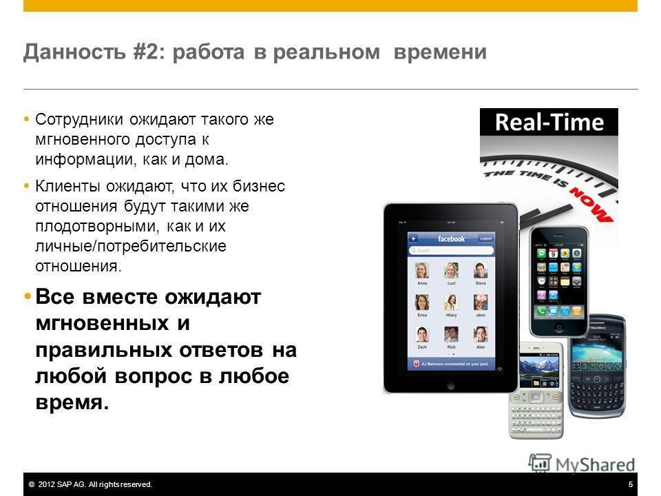©2012 SAP AG. All rights reserved.5 Данность #2: работа в реальном времени Сотрудники ожидают такого же мгновенного доступа к информации, как и дома. Клиенты ожидают, что их бизнес отношения будут такими же плодотворными, как и их личные/потребительс