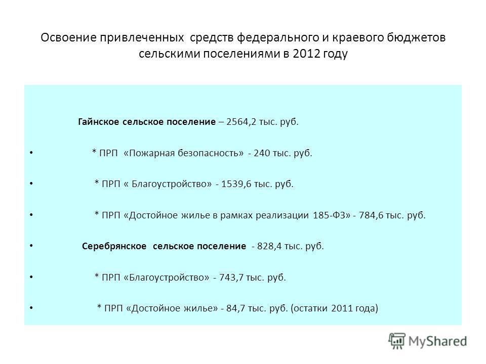 Освоение привлеченных средств федерального и краевого бюджетов сельскими поселениями в 2012 году Гайнское сельское поселение – 2564,2 тыс. руб. * ПРП «Пожарная безопасность» - 240 тыс. руб. * ПРП « Благоустройство» - 1539,6 тыс. руб. * ПРП «Достойное