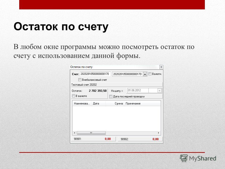 Остаток по счету В любом окне программы можно посмотреть остаток по счету с использованием данной формы.