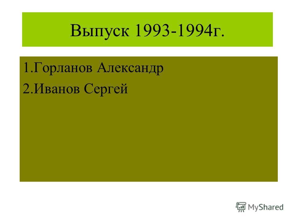 Выпуск 1993-1994г. 1.Горланов Александр 2.Иванов Сергей