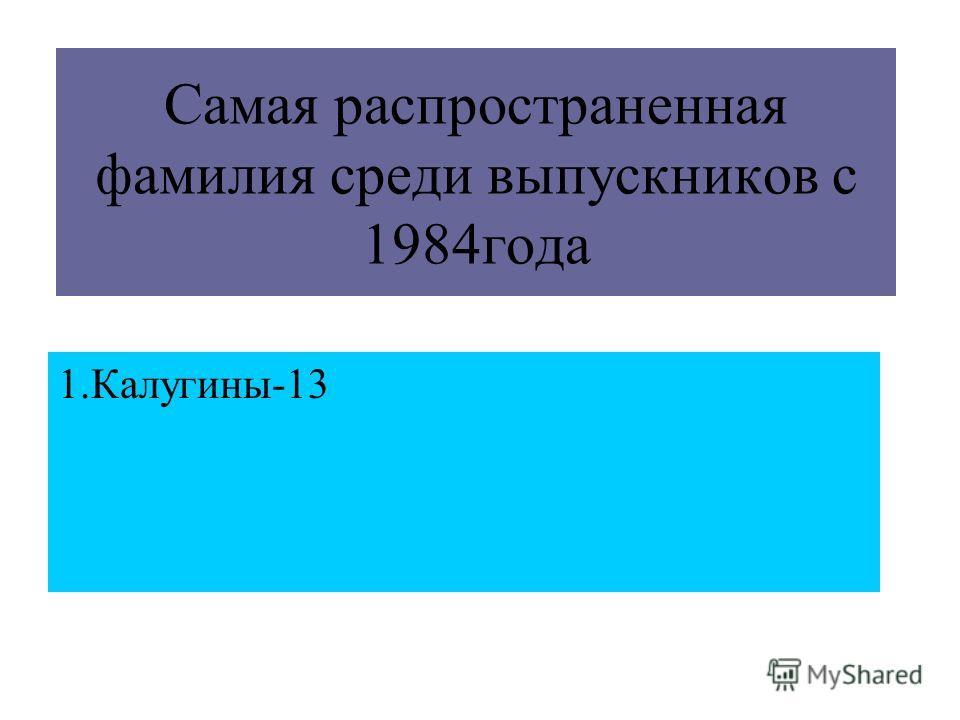 Самая распространенная фамилия среди выпускников с 1984года 1.Калугины-13