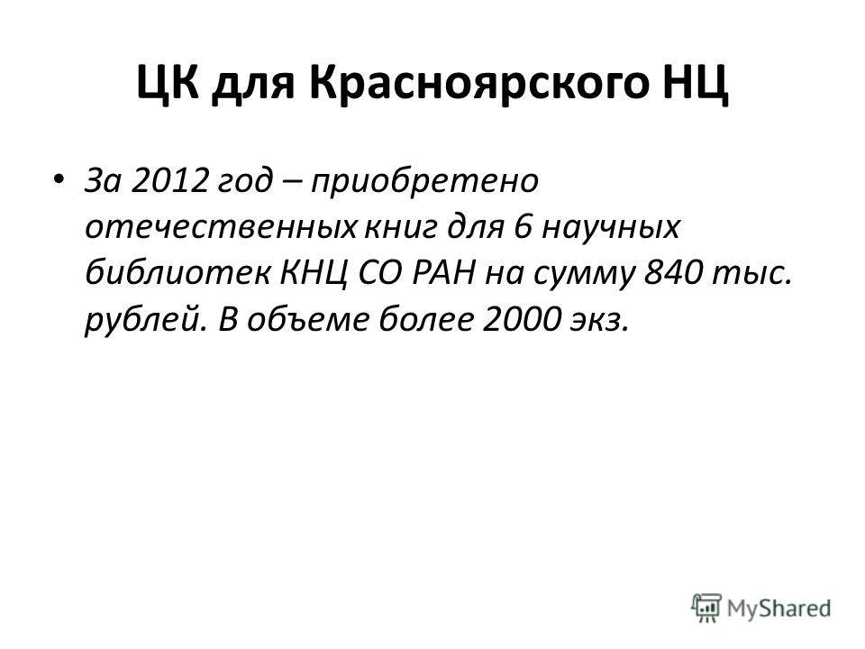 ЦК для Красноярского НЦ За 2012 год – приобретено отечественных книг для 6 научных библиотек КНЦ СО РАН на сумму 840 тыс. рублей. В объеме более 2000 экз.