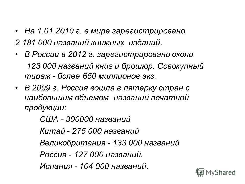 На 1.01.2010 г. в мире зарегистрировано 2 181 000 названий книжных изданий. В России в 2012 г. зарегистрировано около 123 000 названий книг и брошюр. Совокупный тираж - более 650 миллионов экз. В 2009 г. Россия вошла в пятерку стран с наибольшим объе