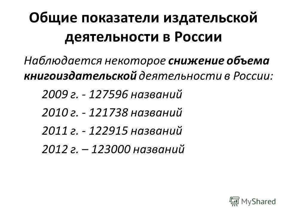 Общие показатели издательской деятельности в России Наблюдается некоторое снижение объема книгоиздательской деятельности в России: 2009 г. - 127596 названий 2010 г. - 121738 названий 2011 г. - 122915 названий 2012 г. – 123000 названий