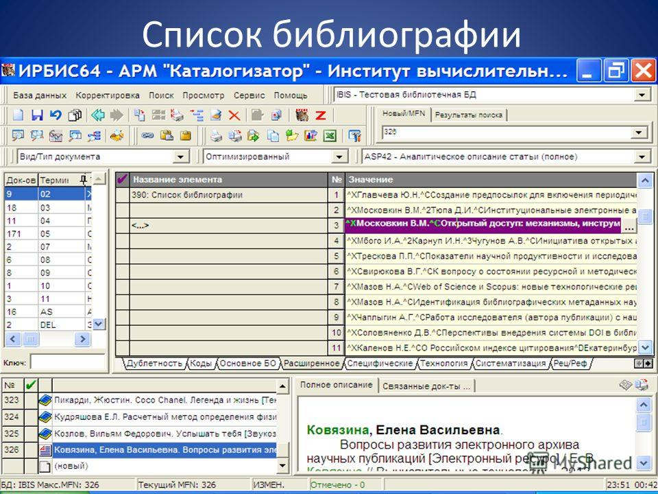 Список библиографии Новые электронные технологии в информационном обслуживании..., Красноярск - оз.Шира, 1-5 июля 2013 г.