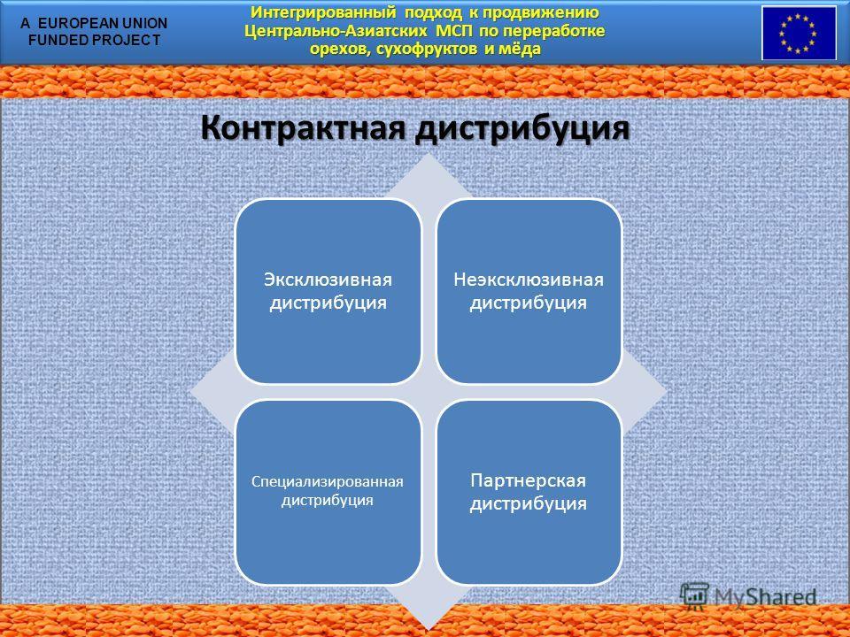 Интегрированный подход к продвижению Центрально-Азиатских МСП по переработке орехов, сухофруктов и мёда Интегрированный подход к продвижению Центрально-Азиатских МСП по переработке орехов, сухофруктов и мёда A EUROPEAN UNION FUNDED PROJECT Контрактна