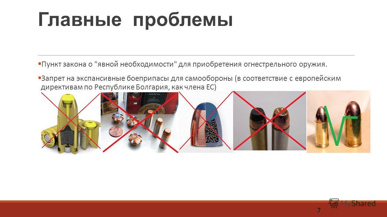 Главные проблемы Пункт закона о явной необходимости для приобретения огнестрельного оружия. Запрет на экспансивные боеприпасы для самообороны (в соответствие с европейским директивам по Республике Болгария, как члена ЕС) 7