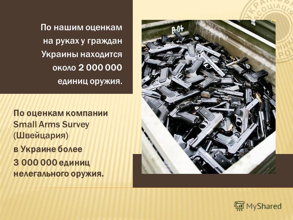 По нашим оценкам на руках у граждан Украины находится около 2 000 000 единиц оружия. По оценкам компании Small Arms Survey (Швейцария) в Украине более 3 000 000 единиц нелегального оружия.
