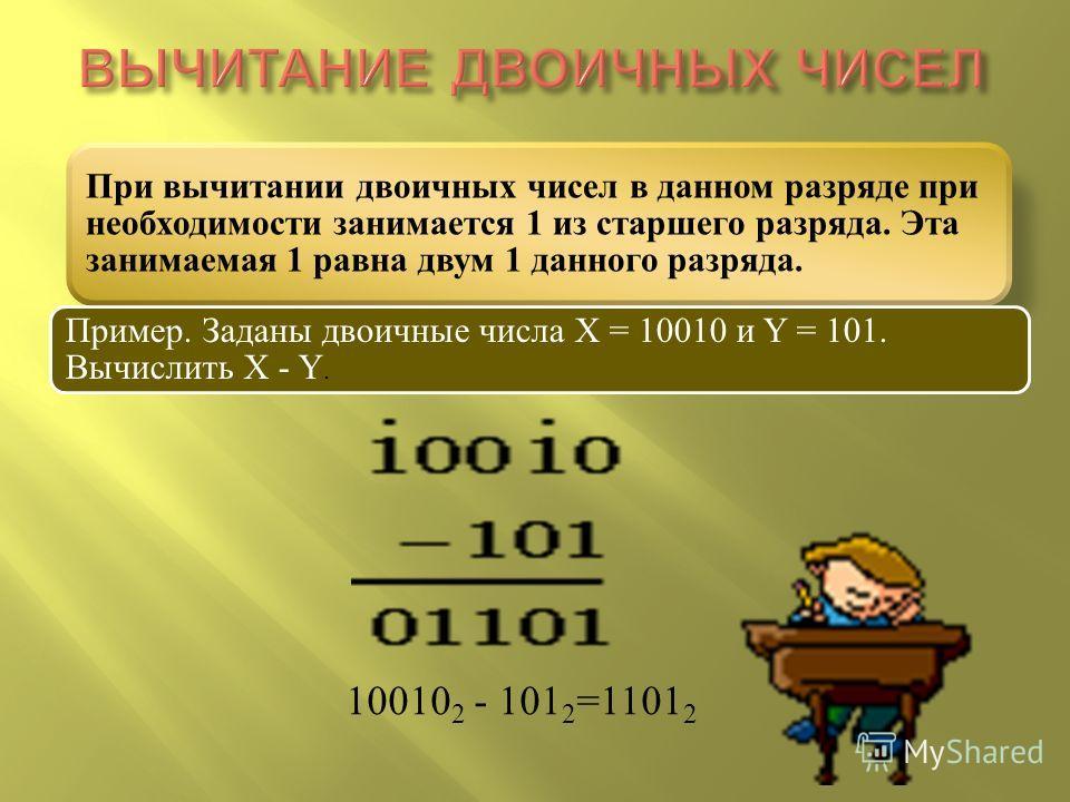 10010 2 - 101 2 =1101 2 При вычитании двоичных чисел в данном разряде при необходимости занимается 1 из старшего разряда. Эта занимаемая 1 равна двум 1 данного разряда. Пример. Заданы двоичные числа X = 10010 и Y = 101. Вычислить X - Y.