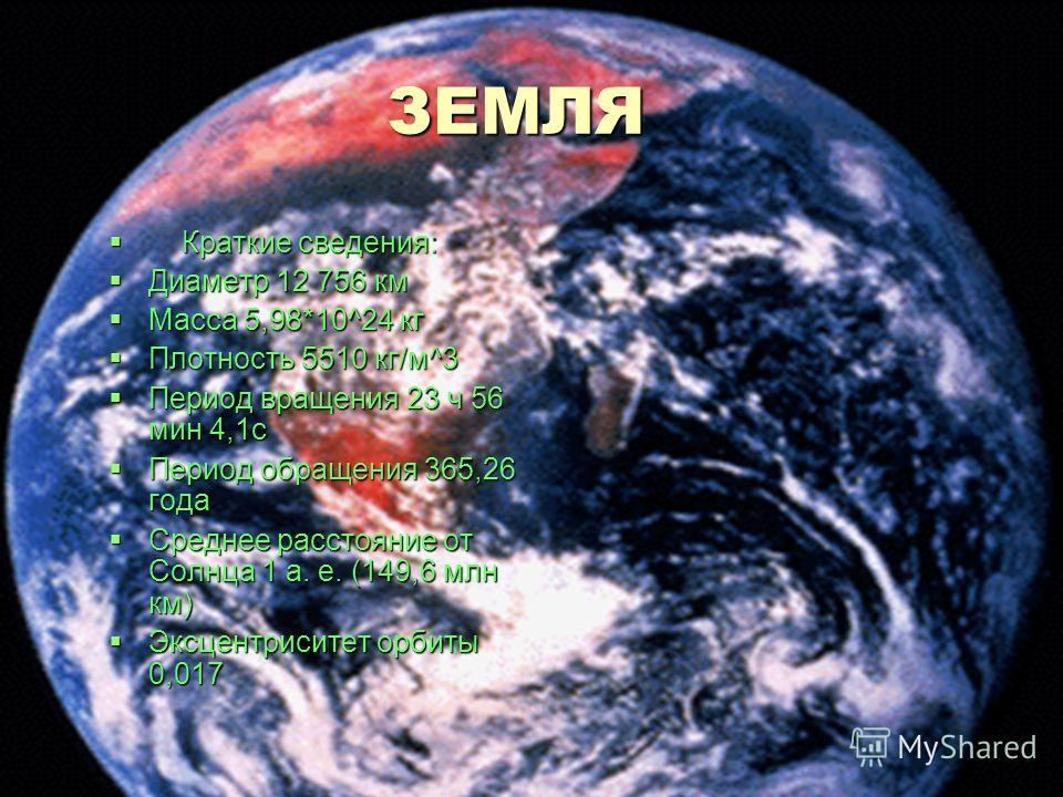 ЗЕМЛЯ ЗЕМЛЯ Краткие сведения: Краткие сведения: Диаметр 12 756 км Диаметр 12 756 км Масса 5,98*10^24 кг Масса 5,98*10^24 кг Плотность 5510 кг/м^3 Плотность 5510 кг/м^3 Период вращения 23 ч 56 мин 4,1с Период вращения 23 ч 56 мин 4,1с Период обращения