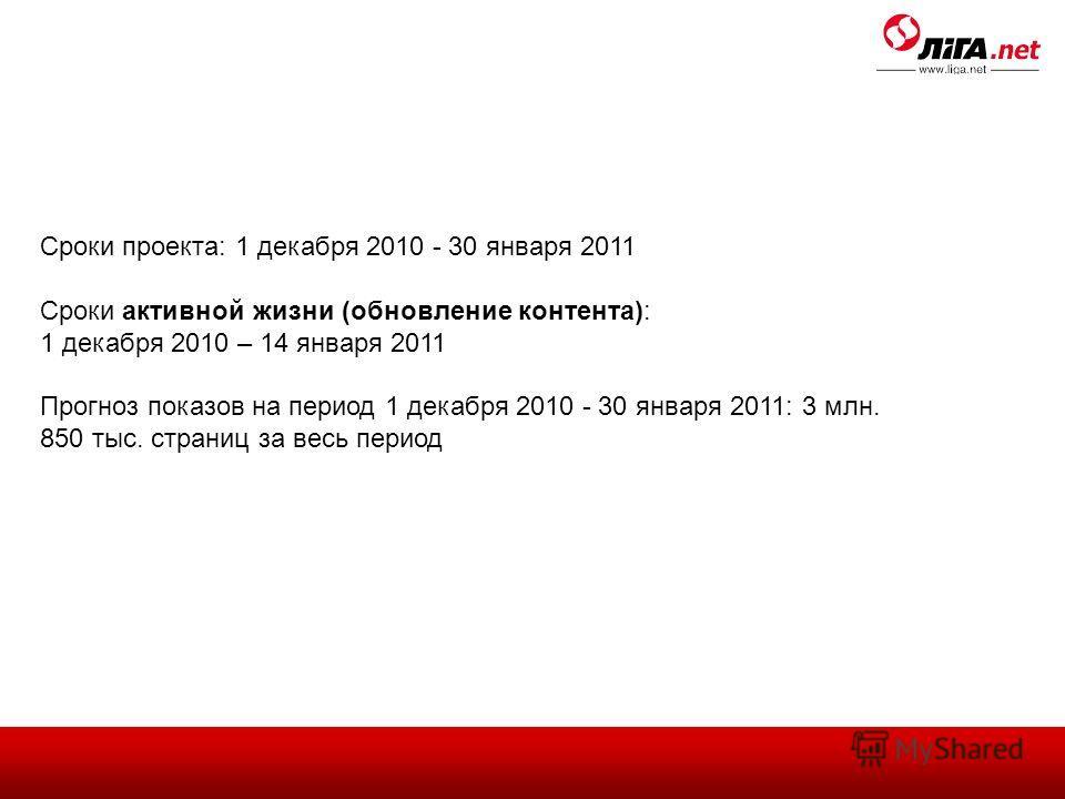 Сроки проекта: 1 декабря 2010 - 30 января 2011 Сроки активной жизни (обновление контента): 1 декабря 2010 – 14 января 2011 Прогноз показов на период 1 декабря 2010 - 30 января 2011: 3 млн. 850 тыс. страниц за весь период