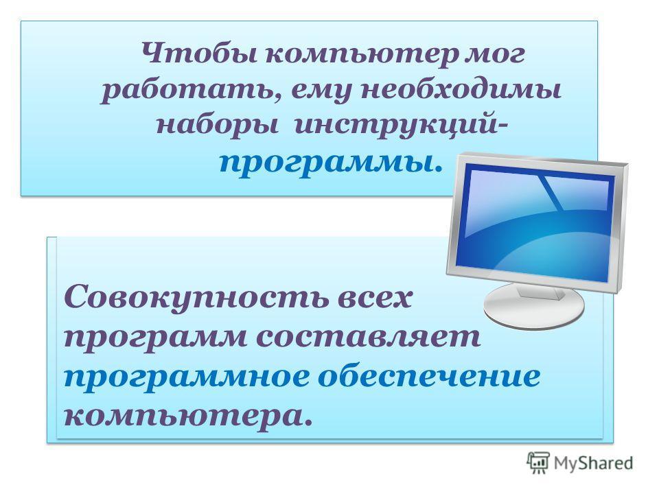 Чтобы компьютер мог работать, ему необходимы наборы инструкций- программы. Совокупность всех программ составляет программное обеспечение компьютера.
