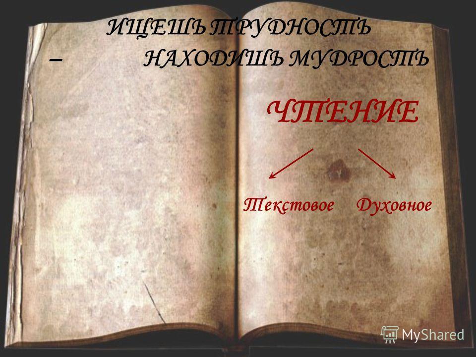 ИЩЕШЬ ТРУДНОСТЬ –НАХОДИШЬ МУДРОСТЬ ЧТЕНИЕ ТекстовоеДуховное