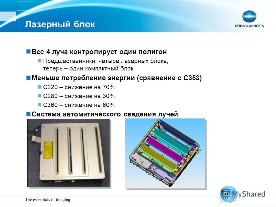 Лазерный блок Все 4 луча контролирует один полигон Предшественники: четыре лазерных блока, теперь – один компактный блок Меньше потребление энергии (сравнение с С353) C220 – снижение на 70% C280 – снижение на 30% C360 – снижение на 60% Система автома