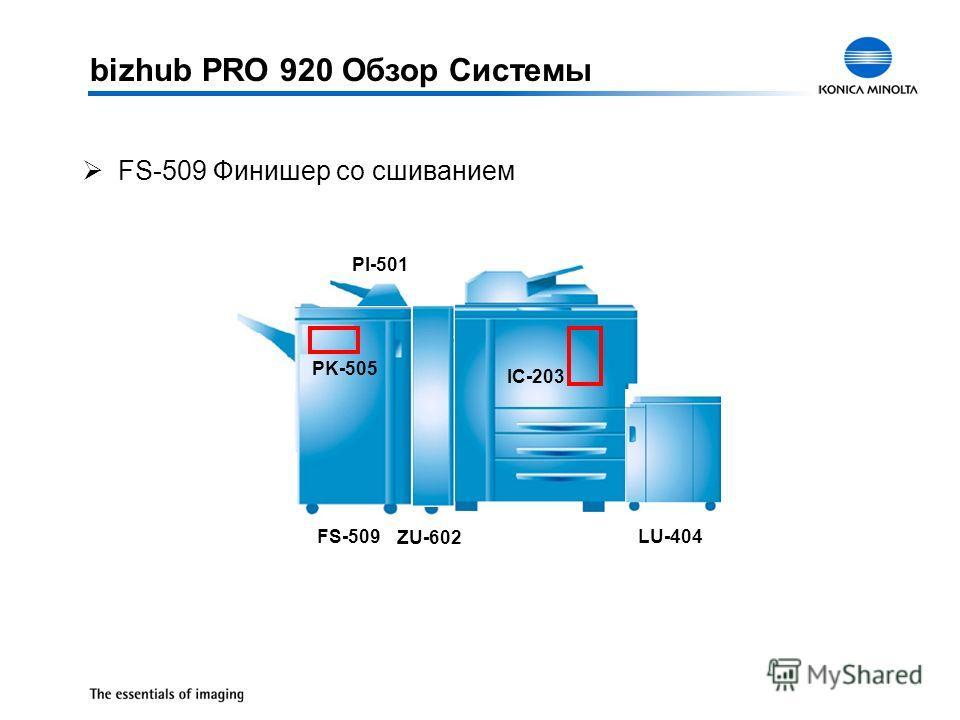 bizhub PRO 920 Обзор Системы ØFS-509 Финишер со сшиванием FS-509 IC-203 LU-403 LU-404 ZU-602 FS-509 PK-505 PI-501