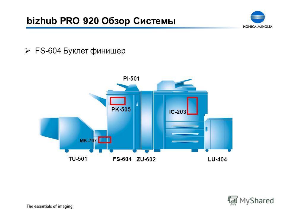 ØFS-604 Буклет финишер FS-604 IC-203 LU-403 LU-404 ZU-602 FS-604 PK-505 PI-501 TU-501 MK-707 bizhub PRO 920 Обзор Системы