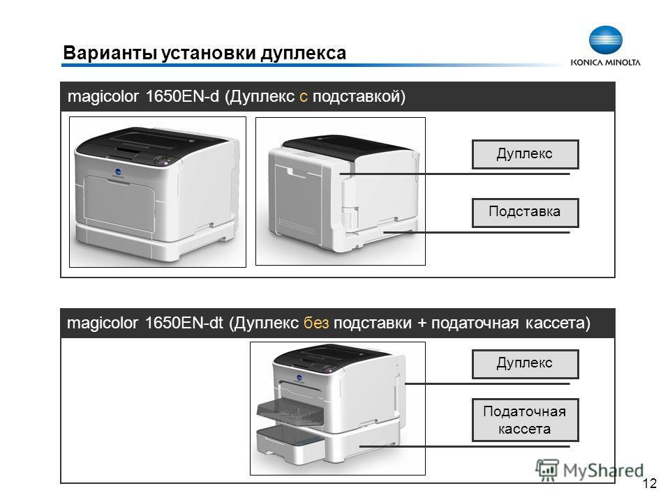 12 magicolor 1650EN-d (Дуплекс с подставкой) magicolor 1650EN-dt (Дуплекс без подставки + податочная кассета) Варианты установки дуплекса Дуплекс Подставка Дуплекс Податочная кассета