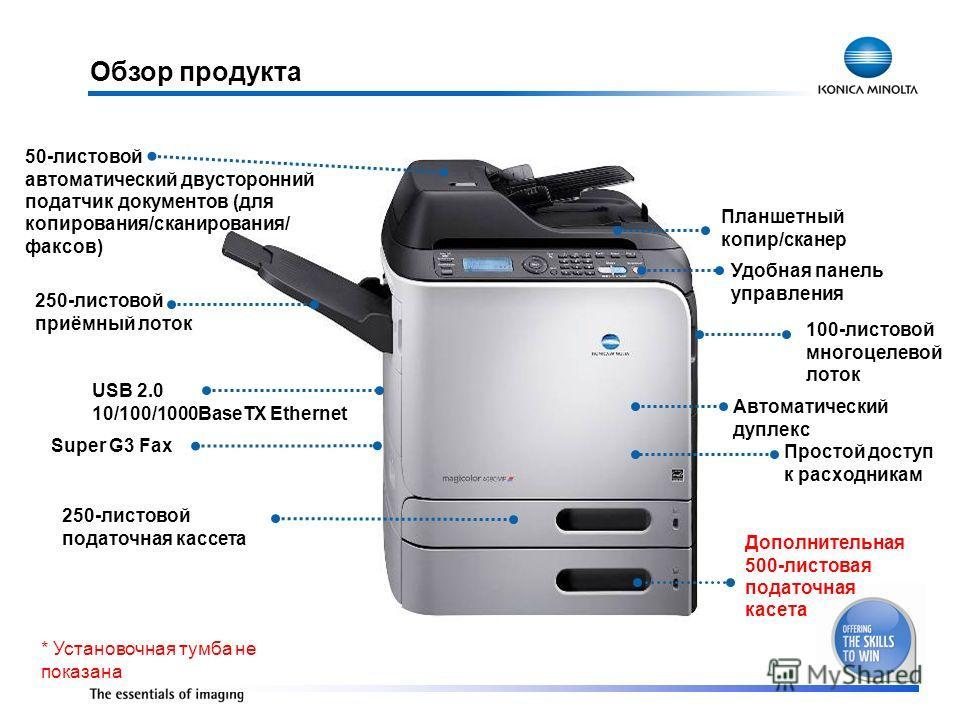 Планшетный копир/сканер Удобная панель управления 250-листовой приёмный лоток Автоматический дуплекс Дополнительная 500-листовая податочная касета 250-листовой податочная кассета Простой доступ к расходникам USB 2.0 10/100/1000BaseTX Ethernet 50-лист