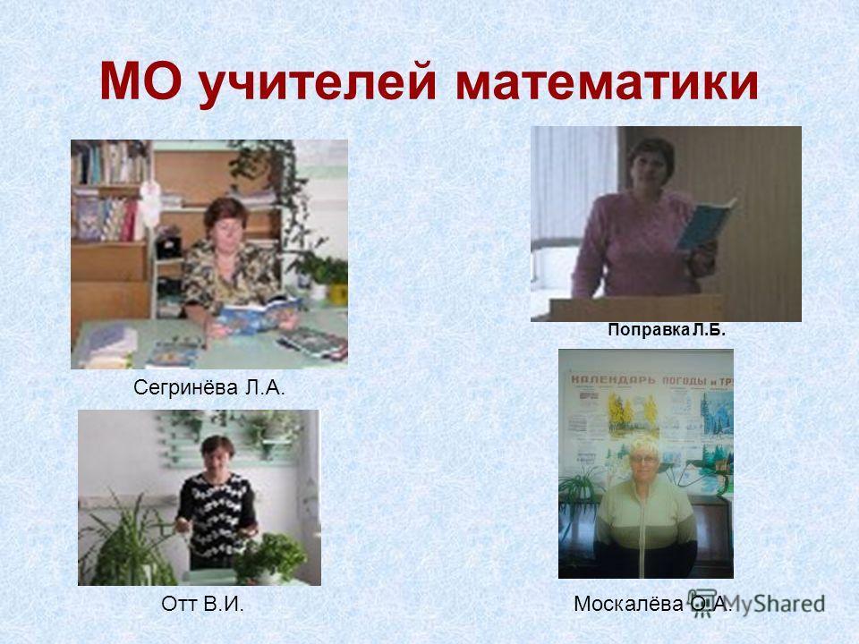 МО учителей математики Сегринёва Л.А. Отт В.И. Поправка Л.Б. Москалёва О.А.
