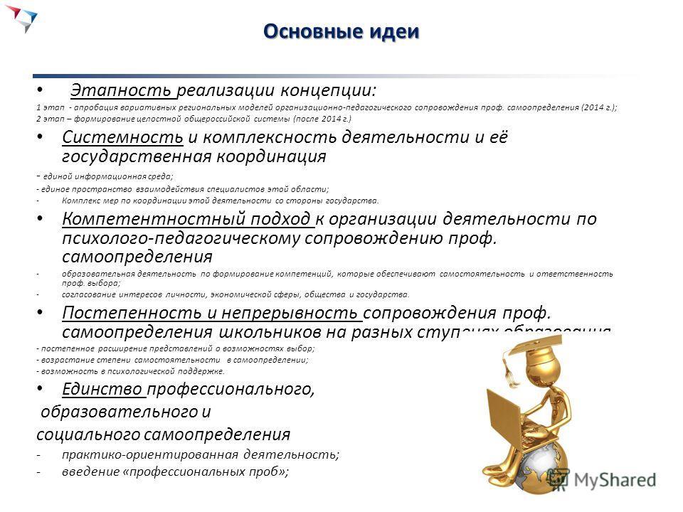 Основные идеи Этапность реализации концепции: 1 этап - апробация вариативных региональных моделей организационно-педагогического сопровождения проф. самоопределения (2014 г.); 2 этап – формирование целостной общероссийской системы (после 2014 г.) Сис